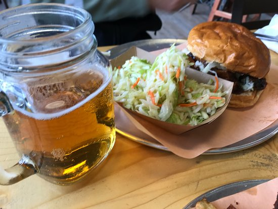 The Pit BBQ: Burnt Ends Sandwich, beer and coleslaw