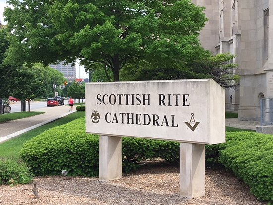 Scottish Rite Cathedral: Sign outside building.