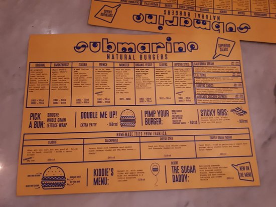 Submarine Natural Burgers: menu