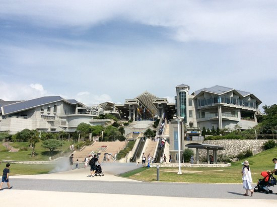 Okinawa Churaumi Aquarium: Aquarium Building from the Beach Esplanade