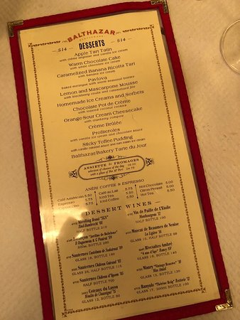 Balthazar: Menu - a little old looking but everything you need