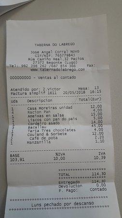 Begonte, Spain: Factura