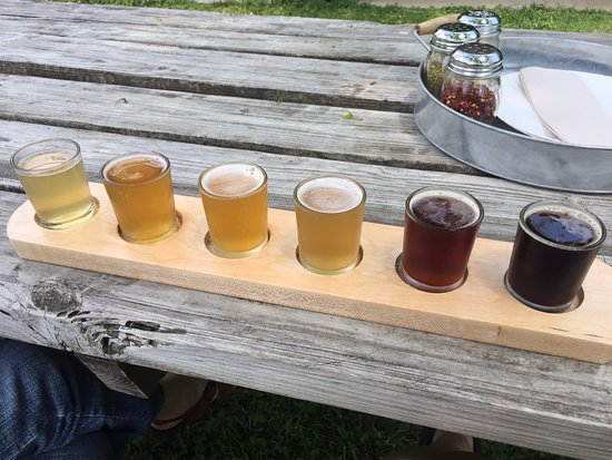 Paddle of brews at Montross Brewery