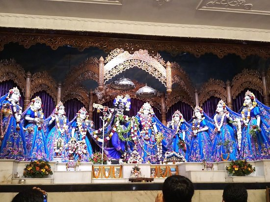 Lord Krishna with Radha and her friends - Picture of ISKCON