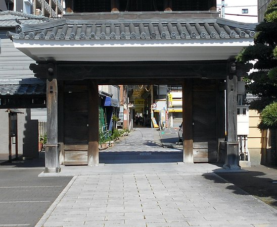 Zenryuji Temple: 山門越しに見えた唐人商店街西口