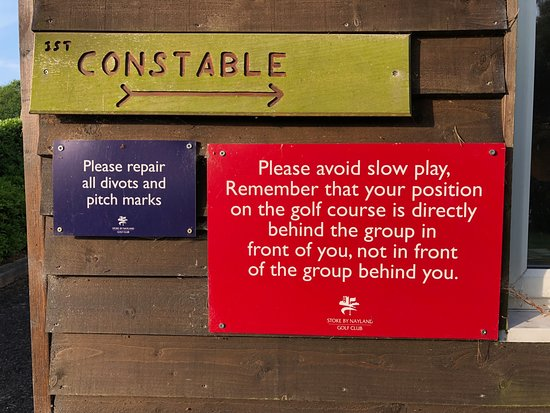 Leavenheath, UK: The message before going onto the 1st tee.