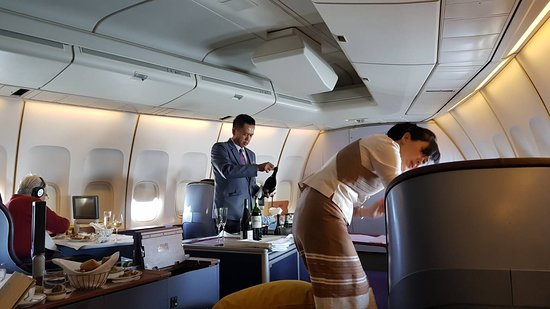 Thai Airways: First class will,always be first class! In the nose of the 747...it doesn't get Better!