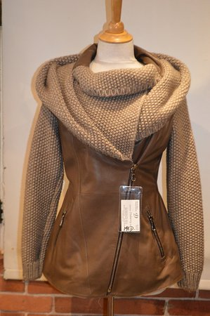 Fourrures Dubarry: Leather and Knitted Wool Hooded Jacket