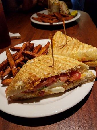 Uptown Cafe : Tomato Mozzarella Panini w/Sweet Potato Fries. Yum!