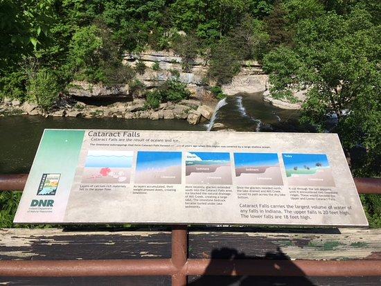 Cataract Falls: Upper Falls sign overlooking falls.
