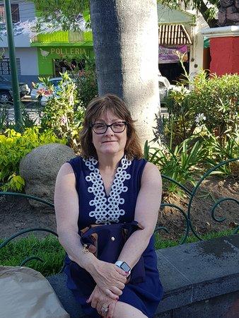 Ajijic Malecon: Maura sitting in plaza