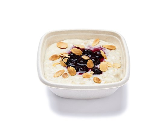 Freshii: Gluten free porridge with blueberry compote and toasted almonds
