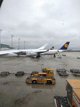 Lufthansa: Aboard A350 and watching an A340 parked next to us.