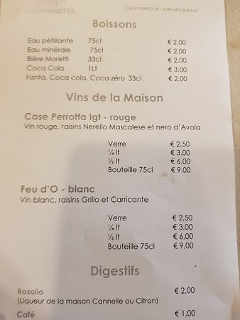 Case Perrotta: carte des vins