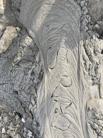 Qobustan, Aserbaidschan: The Lava running down the Mud Volcanoes - My name inscribed