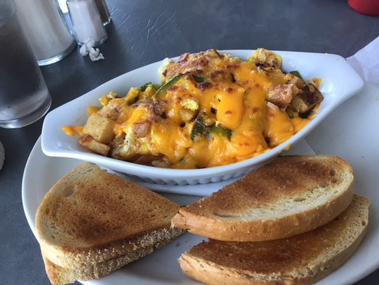 The Riverview Restaurant: This is the Breakfast Scramble this consists of Potatoes, Egg, Cheese, Green Pepper, and Onion