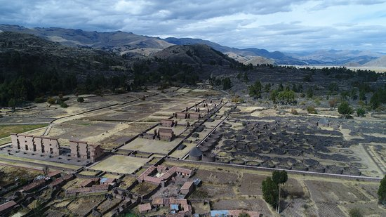 Parque Arqueologico De Raqchi: Aerial view of the site