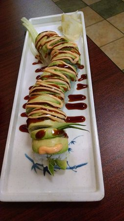 Clyde, NC: Dragon Roll with Salmon