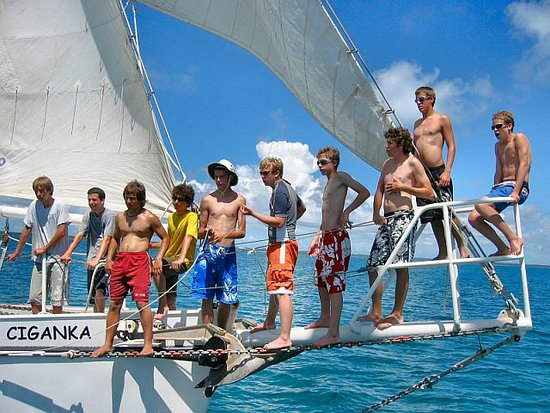 Sailing Adventures: Hanging out on the bow sprit with my friends.  I will never forget this!!