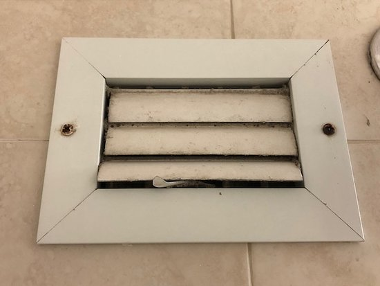 Ramada Plaza by Wyndham Marco Polo Beach Resort: Close up of filthy louver in bathroom shower