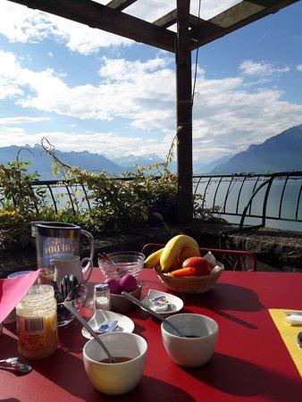 St-Saphorin-Lavaux, İsviçre: Frühstück mit Blick von der Terasse