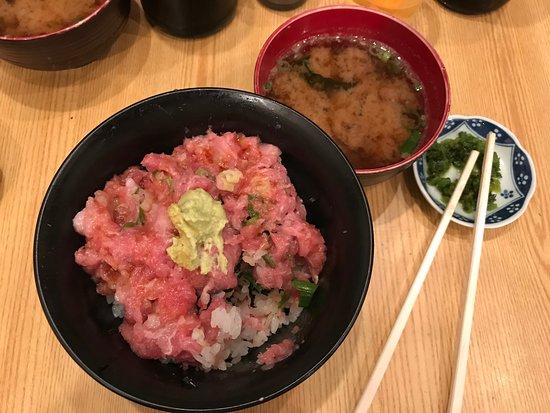 Maguro Koya : Super lekkere sushi rijst met vette tonijn, miso soep en zuur