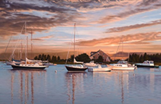 "Teaticket, MA: ""West Falmouth Harbor Sunset"" 26x40 Oil on Canvas"