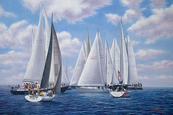 "Teaticket, MA: ""Meeting of the Clan"" Figawi Race 24x36 Oil on Canvas"