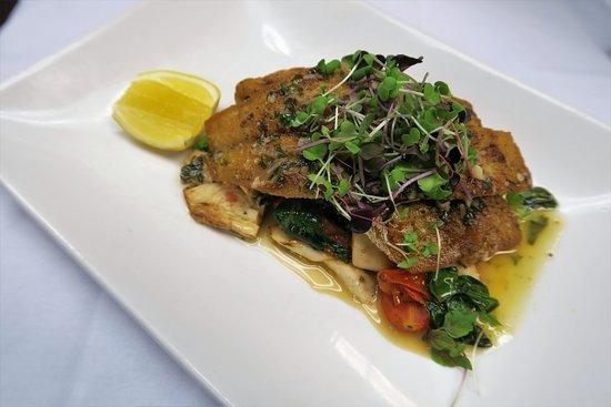 Le Midi Bar & Restaurant: pan-seared loup de mer with palm hearts, spinach