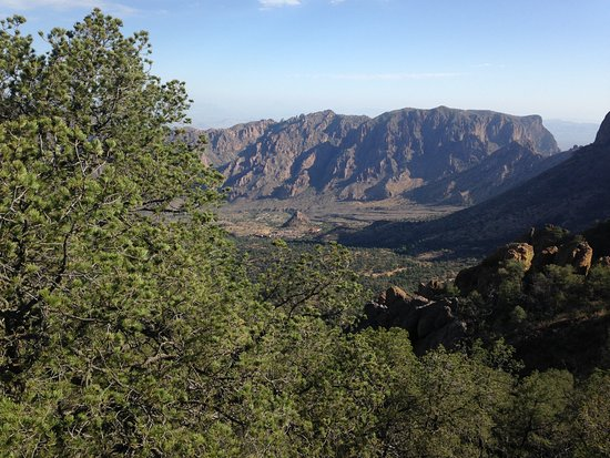 Chisos Mountains Lodge: The basin and the Chisos Mountain Lodge from the saddle between Toll Mountain and Emory Peak