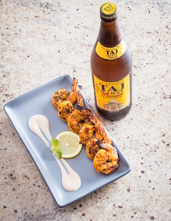 Aashirwad Indian Food and Bar: Pepper Shrimp with Indian beer
