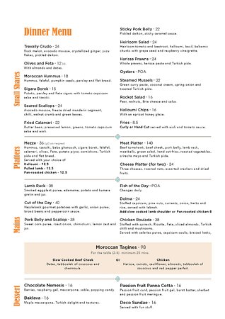 Titirangi, New Zealand: Deco Dinner Menu
