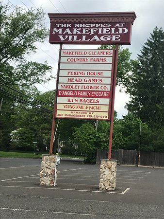 Yardley, PA: Shopping Center Sign with R J's Bagel Name on It.