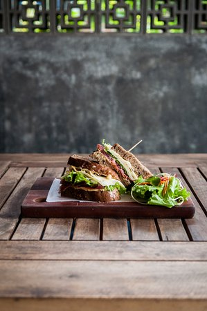 Dingo Deli: Create your own sandwich: in this one —  goat cheese, lettuce, parma ham