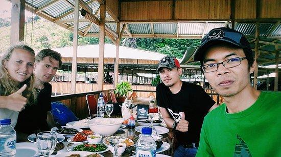 Having lunch at local restaurant in Tondano Lake