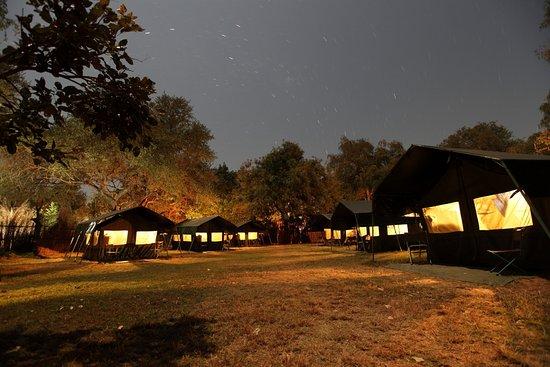 Northern Province, Zambia: Kiboko camp by night
