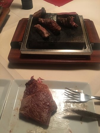 great meat on a hot stone