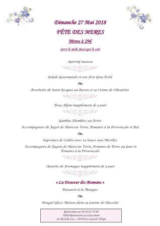 Le Lauzet Ubaye, France: Menu Fête des Mères restaurant