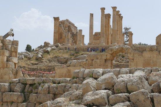 Jerash, Jordan: The Zeus temple above the Hippodrome.