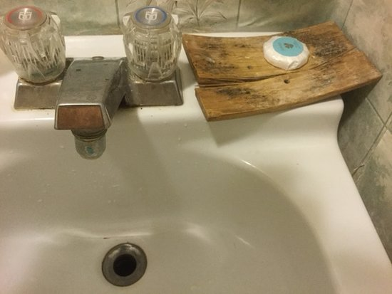 Filthy faucets and disgusting soap dish