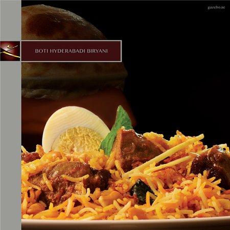 Gazebo Restaurant: BOTI HYDERABADI BIRYANI - Tender pieces of boneless mutton marinated in a special Hyderabadi mas