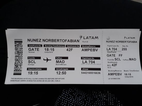 Boarding Pass Picture Of Latam Airlines World Tripadvisor