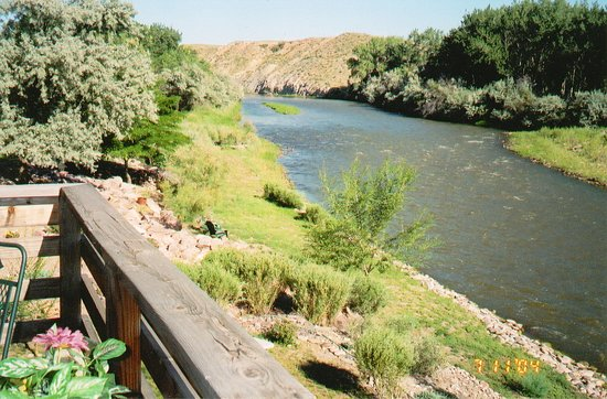 Florence, CO: River view from guests' private deck.