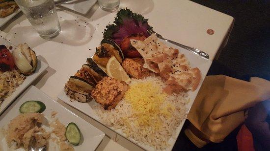 Persepolis Persian Cuisine: Salmon, rice, and veggies