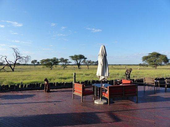 Frans Indongo Lodge: Schönes Aussichtsdeck mit Blick in die Savanne und den Tieren.
