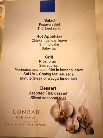 Conrad Koh Samui: bbq dinner on the lawn in my villa