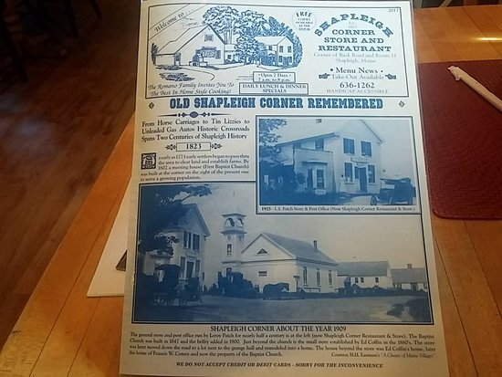 Shapleigh, ME: Cover of their menu, read the history