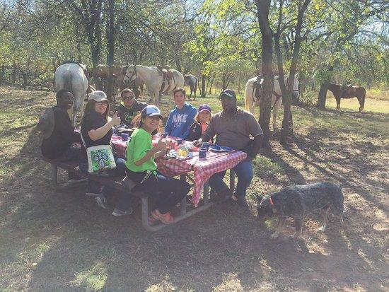 Fay, OK: Enjoying their steak dinner at camp.