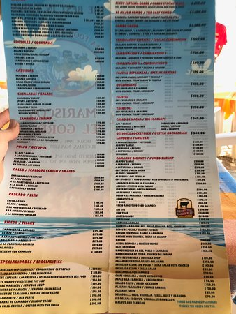 Mariscos el Gordo: Food menu