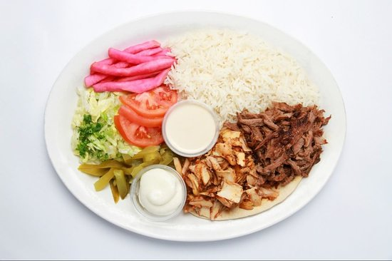 Paramount Fine Foods: Chicken and Beef Shawarma Dinner Plate